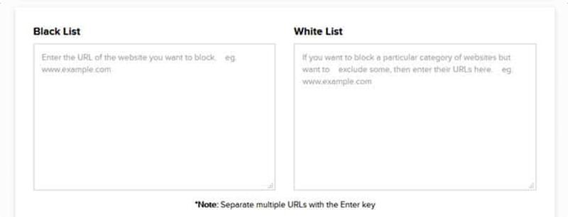 черный список или белый список сайтов PureVPN