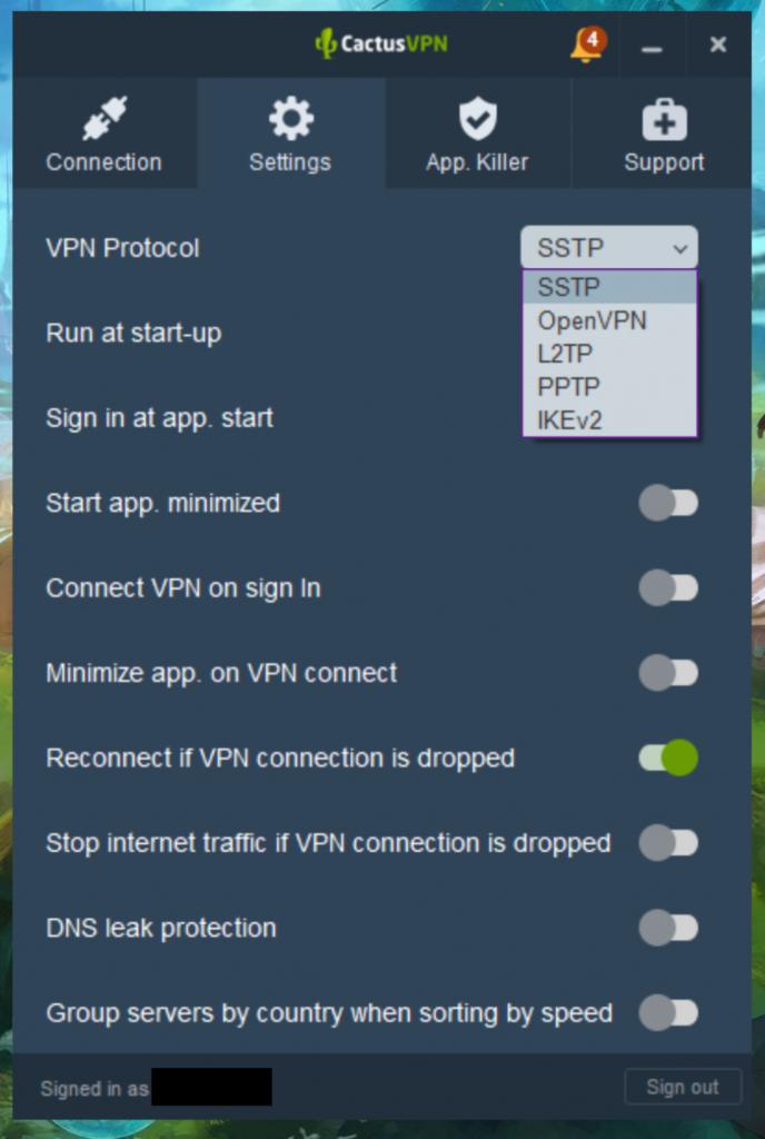 CactusVPN протоколы и опции