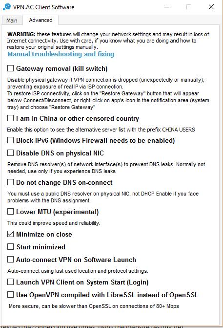 VPNac расширеные настройки приложения