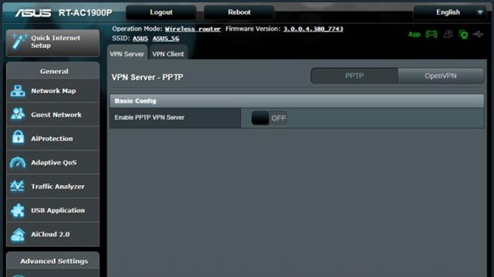 меню роутера VPN