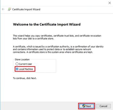 Выбор значения при установки сертификата.